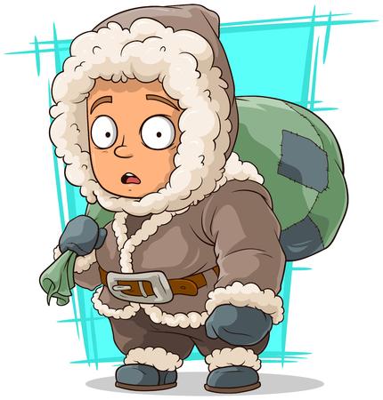 brows: A vector illustration of cartoon cute little eskimo boy