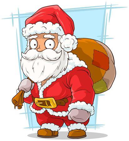 brow: A vector illustration of cartoon funny santa claus with beard