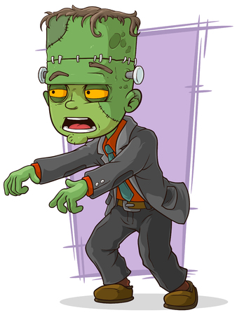 scar: A vector illustration of cartoon green zombie monster in suit