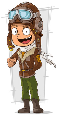 leather pants: A vector illustration of cartoon happy pilot in leather helmet Illustration