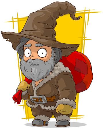 leather coat: A vector illustration of cartoon old traveler in big hat Illustration