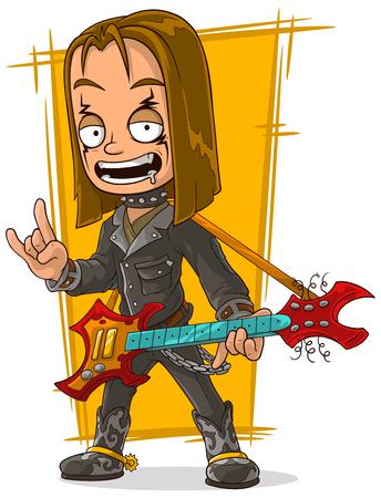 long haired: A vector illustration of cartoon long hair rocker in black leather jacket Illustration