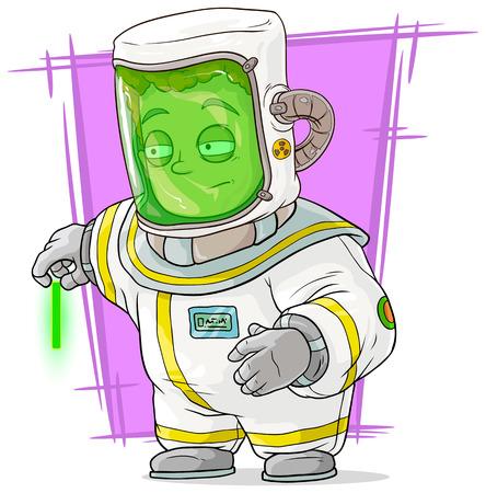 uranium: A vector illustration of cartoon scientist in protective suit with uranium