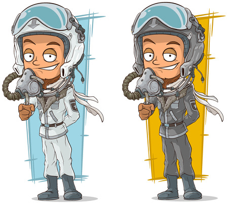 leather pants: A vector illustration of cartoon set of pilots with cool helmets