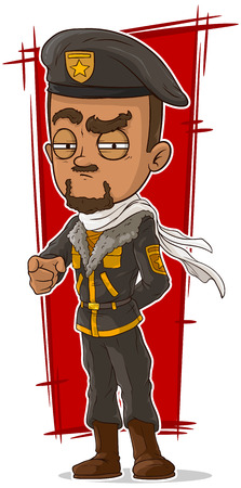 leather pants: A vector illustration of cartoon soldier with beret and scarf Illustration