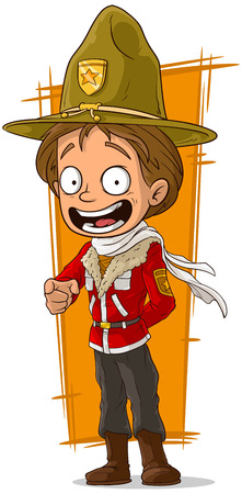 leather coat: A vector illustration of cartoon standing canadian ranger in hat