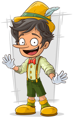 A vector illustration of cartoon young Pinocchio with big boots and hat