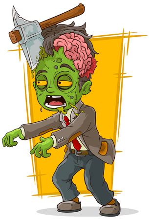 scar: A vector illustration of cartoon walking green zombie with axe
