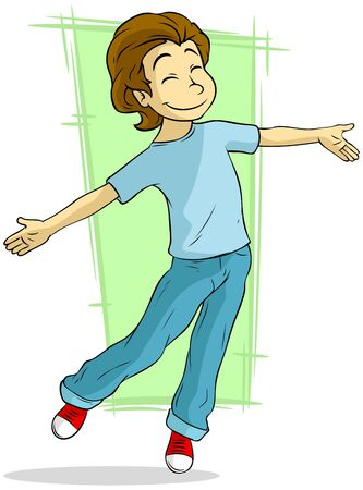 red haired person: A vector illustration of cartoon dancing young guy