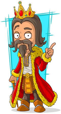 scepter: A vector illustration of cartoon bearded king with gold crown