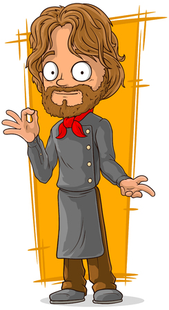 red haired person: A vector illustration of cartoon bearded chef in black clothing