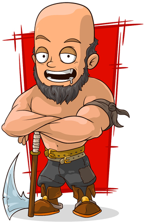 shirtless: A vector illustration of cartoon big executioner with axe Illustration