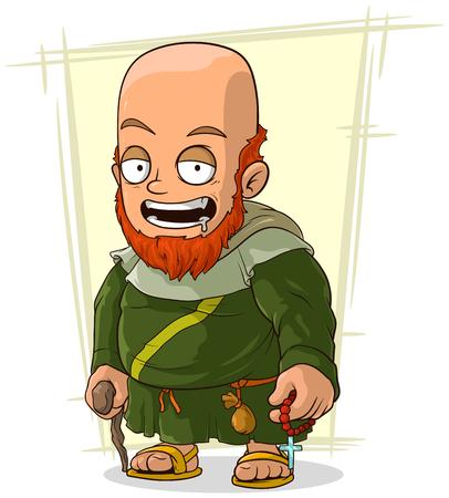 monk robe: A vector illustration of cartoon bearded monk in robe Illustration