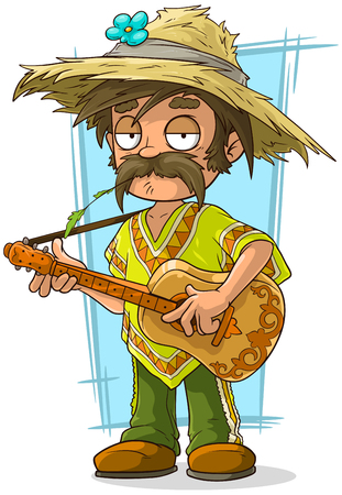 granger: A vector illustration of cartoon farmer in straw hat with guitar