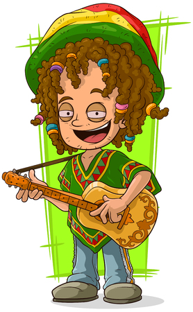 A vector illustration of cartoon happy Rastaman with guitar Ilustracja