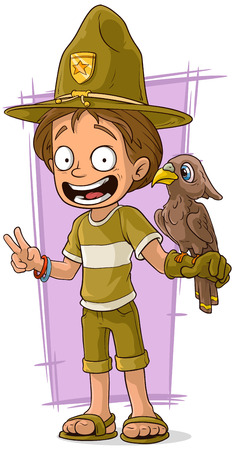 forester: A vector illustration of cartoon cute forester with bird
