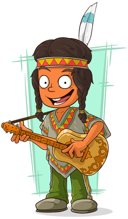 brow: A vector illustration of cartoon Indian boy in poncho