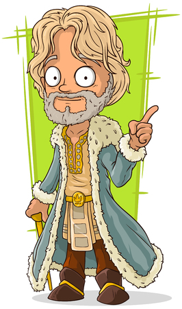 long haired: A vector illustration of cartoon lord in rich dress Illustration