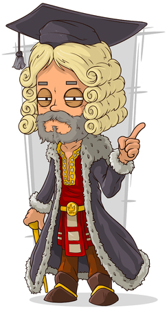 scepter: A vector illustration of cartoon old rich medieval blond judge