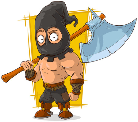 shirtless: A vector illustration of cartoon masked executioner with big axe