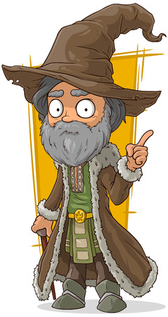 A vector illustration of cartoon old wizard in brown hat