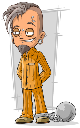 piercing: A vector illustration of cartoon piercing prisoner in orange robe Illustration