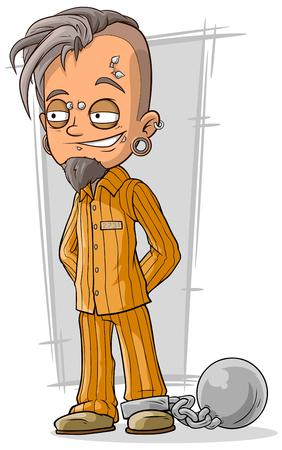 A vector illustration of cartoon piercing prisoner in orange robe Illustration