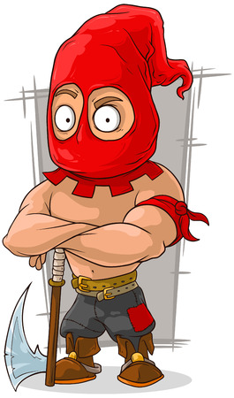 shirtless: A vector illustration of cartoon punisher in red mask