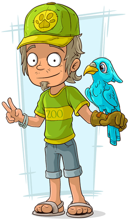 bruise: A vector illustration of cartoon standing zoo worker in green cap Illustration