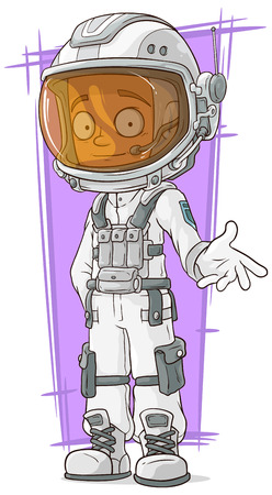 space suit: A vector illustration of cartoon astronaut in white space suit Illustration