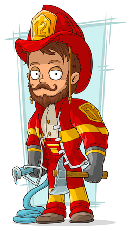 A vector illustration of cartoon bearded fireman with fire-pump