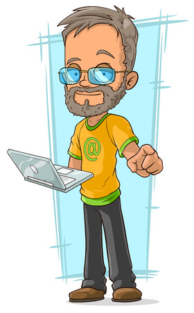 brow: A vector illustration of cartoon bearded programmer in glasses
