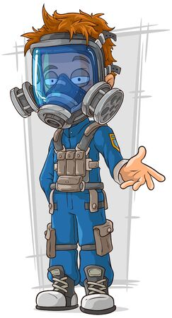 cool guy: A vector illustration of cartoon cool guy in blue gas mask