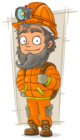 eyes cave: A vector illustration of cartoon cave digger with helmet and flashlight Illustration