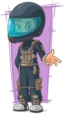 protective gas mask: A vector illustration of cartoon motoracer in protective helmet Illustration