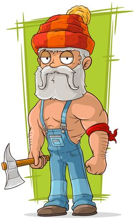 overall: A vector illustration of cartoon old lumberjack in red cap