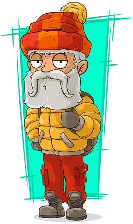 nylon: A vector illustration of cartoon old traveler in nylon jacket Illustration