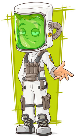 mart: A vector illustration of cartoon scientist in protective mask Illustration