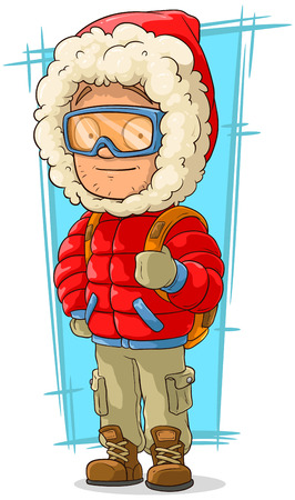 nylon: A vector illustration of cartoon young tourist in red nylon jacket