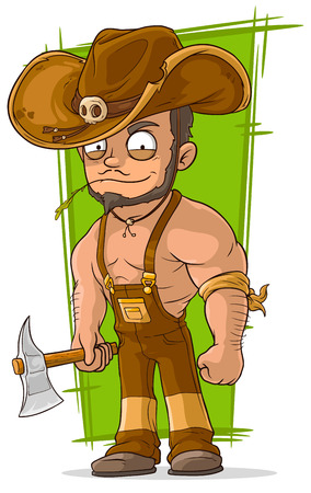 overall: A vector illustration of cartoon strong lumberjack with axe Illustration