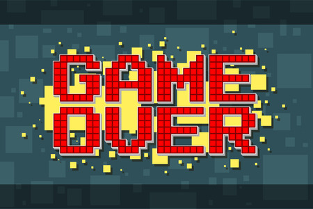 the game is over: A vector illustration of Pixel red game over screen on yellow background