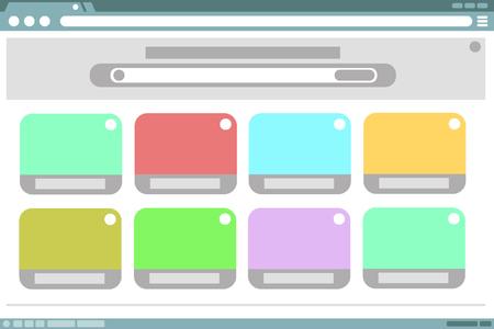 windows frame: A vector illustration of browser frame design with color windows inside