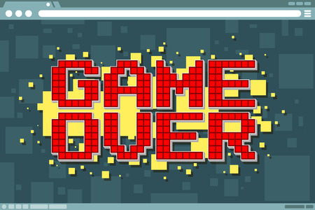 A vector illustration of Pixel computer game over screen on display screen Ilustração