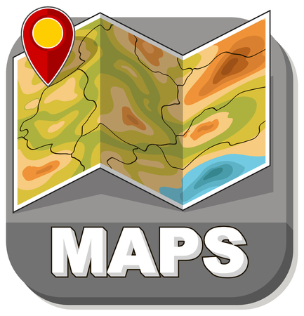 generic: A vector illustration of basic generic map with red marker