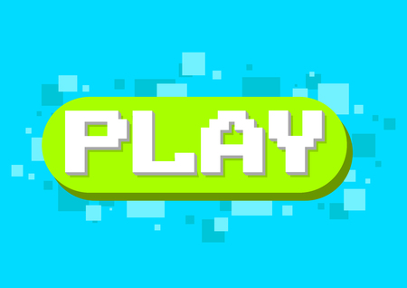 A vector illustration of pixel play button icon on green background design