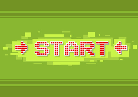 start button: A vector illustration of pixel red text start button on green background illustration Illustration