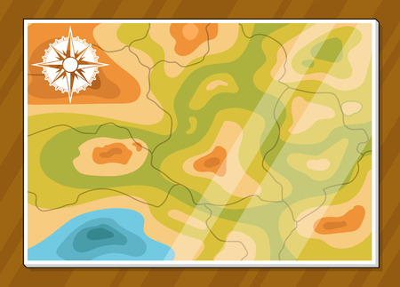 generic location: A vector illustration of a basic generic map with navigator Illustration