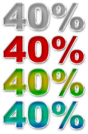 jpeg: A illustration of Percent 40 colorful icons symbols set JPEG