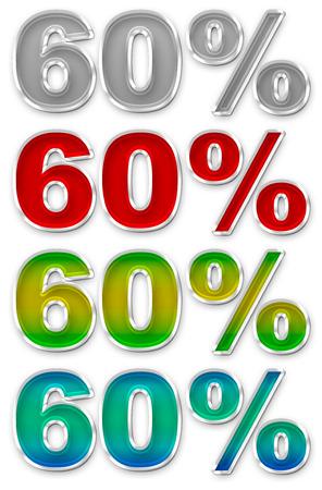 jpeg: A illustration of Percent 60 colorful icons symbols set JPEG
