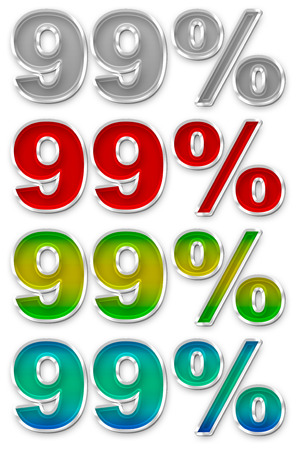 99: A illustration of Percent 99 colorful icons symbols set JPEG